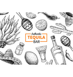 Tequila bar label mexican alcohol drink vector