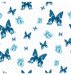 Vintage seamless background with butterflies vector image vector image