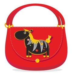 Zebra decorated handbag vector image vector image