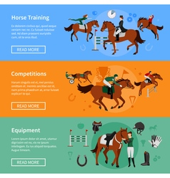 Horse rising sport banners vector