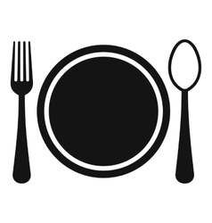 Place setting with platespoon and fork icon vector