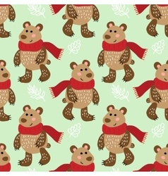 Seamless pattern with bears vector