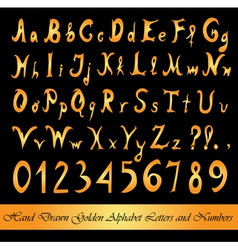golden alphabet letters and numbers vector image