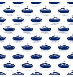 Blue lifeboat seamless pattern vector