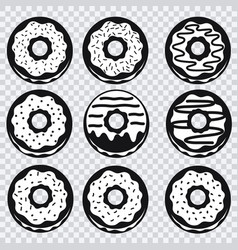 Donuts icons with different fillings vector