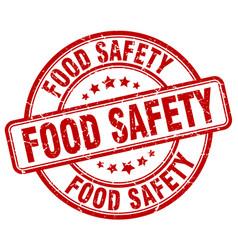 Food safety red grunge round vintage rubber stamp vector