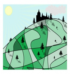 green hill vector image