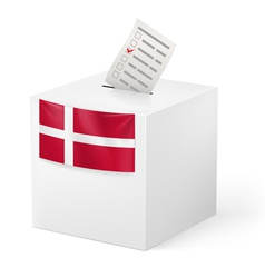 Ballot box with voting paper denmark vector