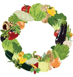 range of vegetables on white background vector image