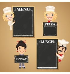 Chefs cartoon characters with chalkboard menu vector