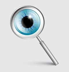 Magnifying glass with blue eye vector