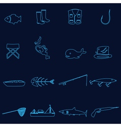 Simple outline blue fishing icons set eps10 vector