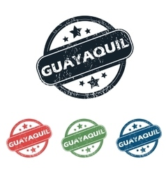 Round guayaquil city stamp set vector