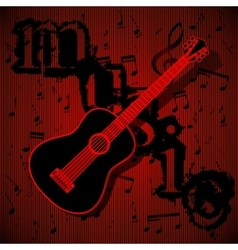 Guitar on musical background vector