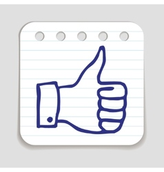 Doodle thumbs up icon vector