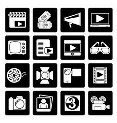 Black movie and cinema icons vector