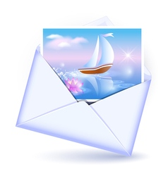 Open envelope and card vector