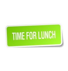 Time for lunch green square sticker on white vector
