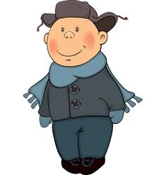 A boy in a winter coat and a fur cap vector image vector image