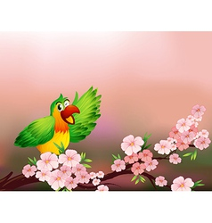 A tree with a colorful parrot vector image vector image