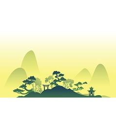 Abstract asian Landscape with trees and hills vector image
