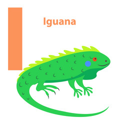 alphabet for children character i iguana art icon vector image