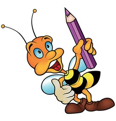 Bee holding pencil vector