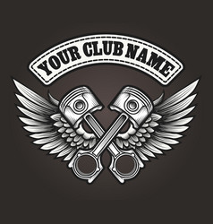 biker club emblem with winged pistons vector image