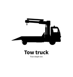 black silhouette of tow truck vector image