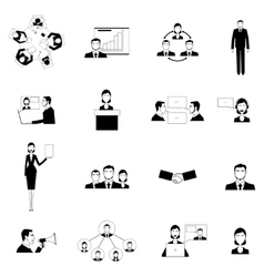 Business meeting flat icons set vector