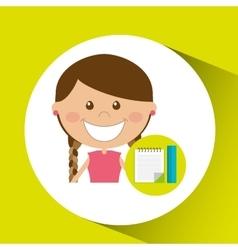 Cheerful girl study notebook ruler design vector