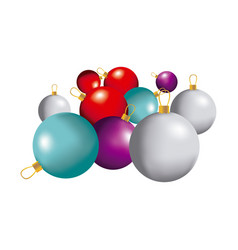 color christmas balls icon vector image