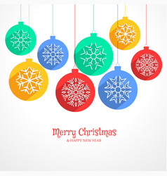 Colorful hanging christmas balls background with vector