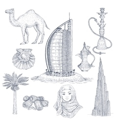 Dubai drawn elements set vector