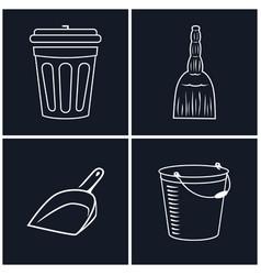 Dustbin and broom bucket vector