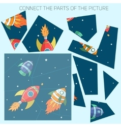 Educational game connect the parts of picture vector image vector image