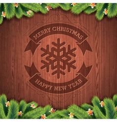 Engraved Merry Christmas typographic design vector image vector image