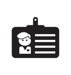 Flat icon in black and white employee badge vector