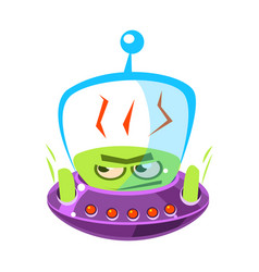 flattened flushed green alien cute cartoon vector image vector image