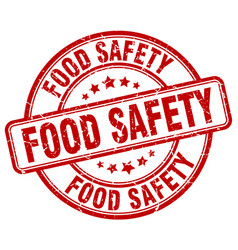 Food safety red grunge round vintage rubber stamp vector