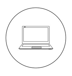 laptop icon in outline style isolated on white vector image vector image