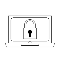 Laptop with safety lock vector