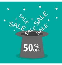 Magic hat 50 percent off sale background big sale vector