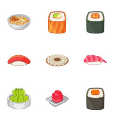 Many asian sushi food icons set cartoon style vector