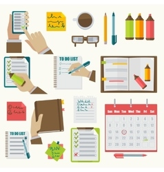 Notebooks agenda business notes collection vector