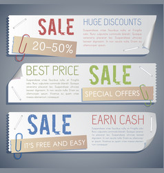 Promotion sale horizontal banners vector