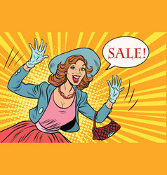 retro lady enjoys the sale vector image