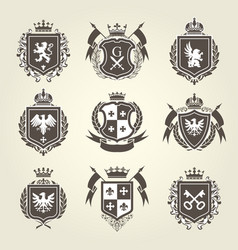 royal blazons and coat of arms - knight heraldic vector image vector image