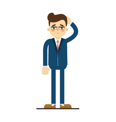 Sad businessman with hand behind head gesture vector