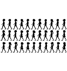 Silhouette of children walking vector image
